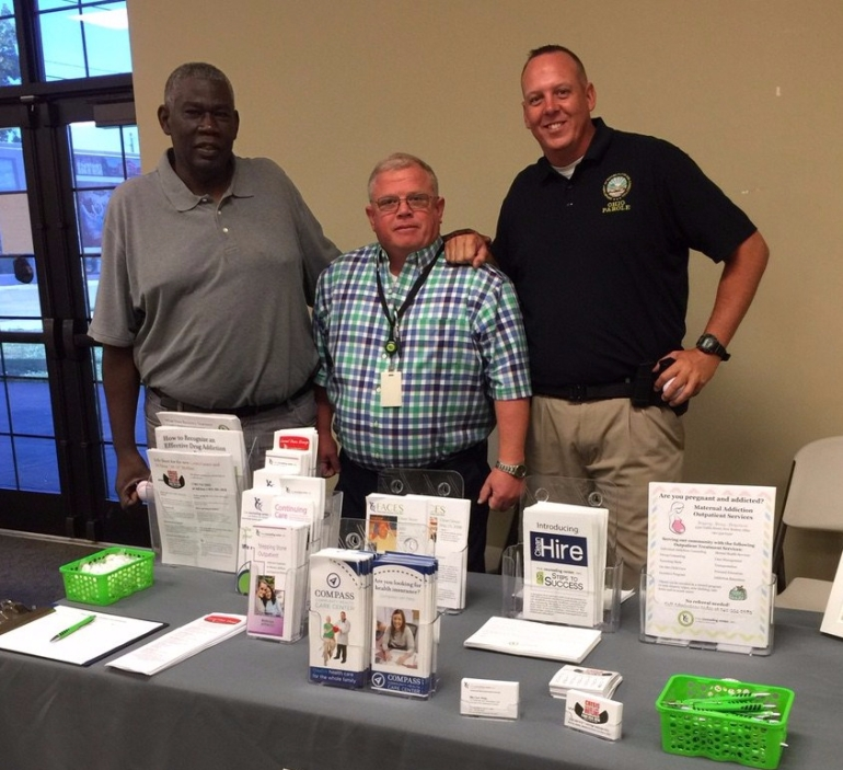 photo of the Hughes Re-Entry Center info table at the ODRC ReEntry Fair, July 12, 2017